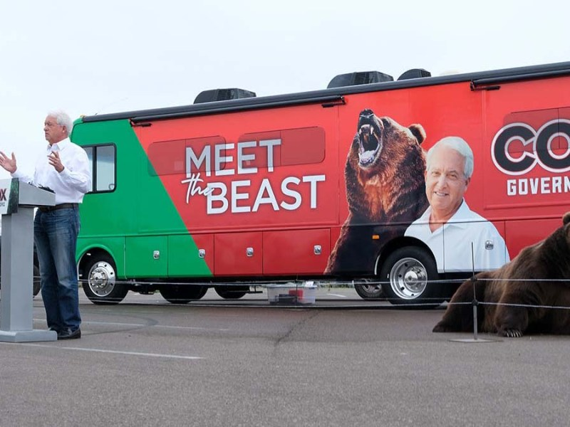 San Diegan John Cox, who is running in the recall election against Gavin Newsom, campaigns with a bear.