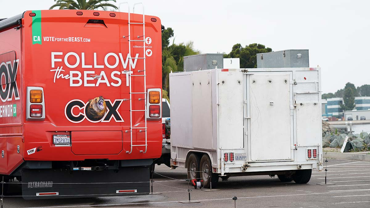 A bear cage holds the 1,000-pound Kodiak bear during the travels with the gubernatorial campaign.
