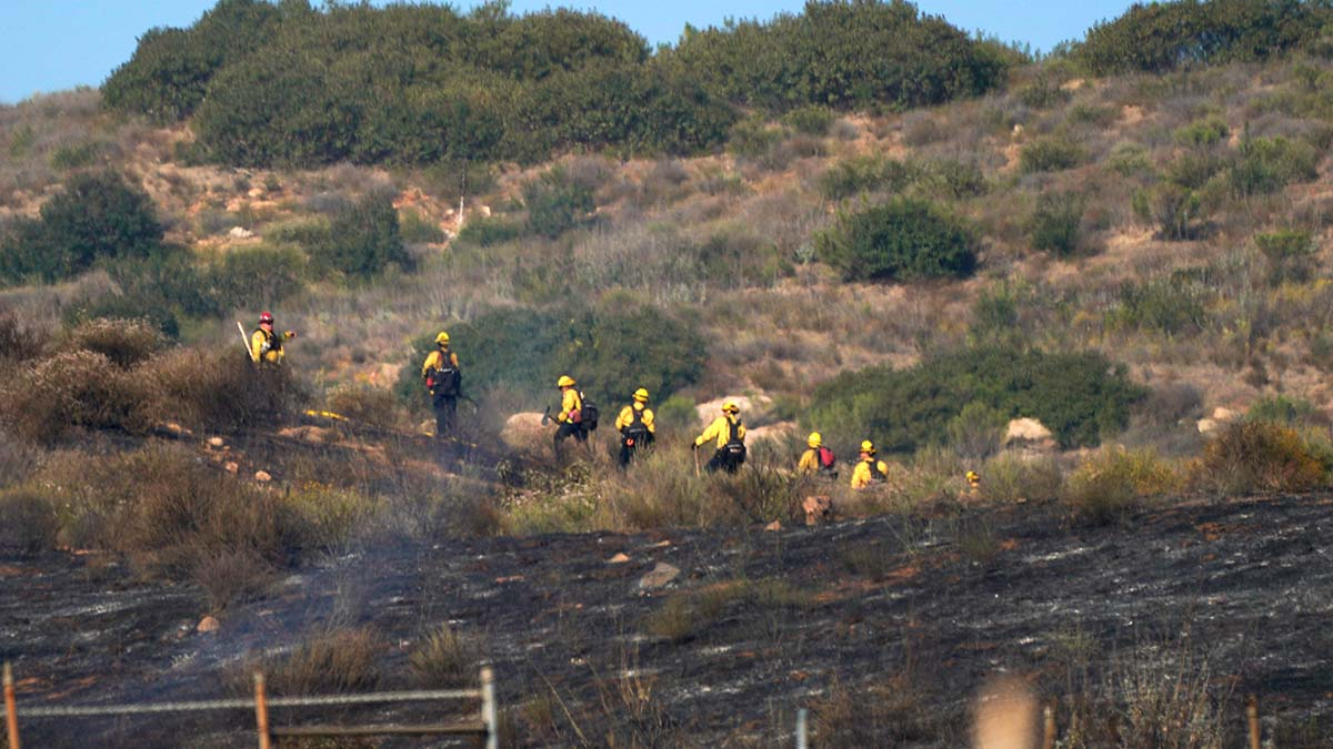 Crews mop up 30-acre brush blaze on slope between Las Coches Road and Greenfield Drive off Interstate 8.