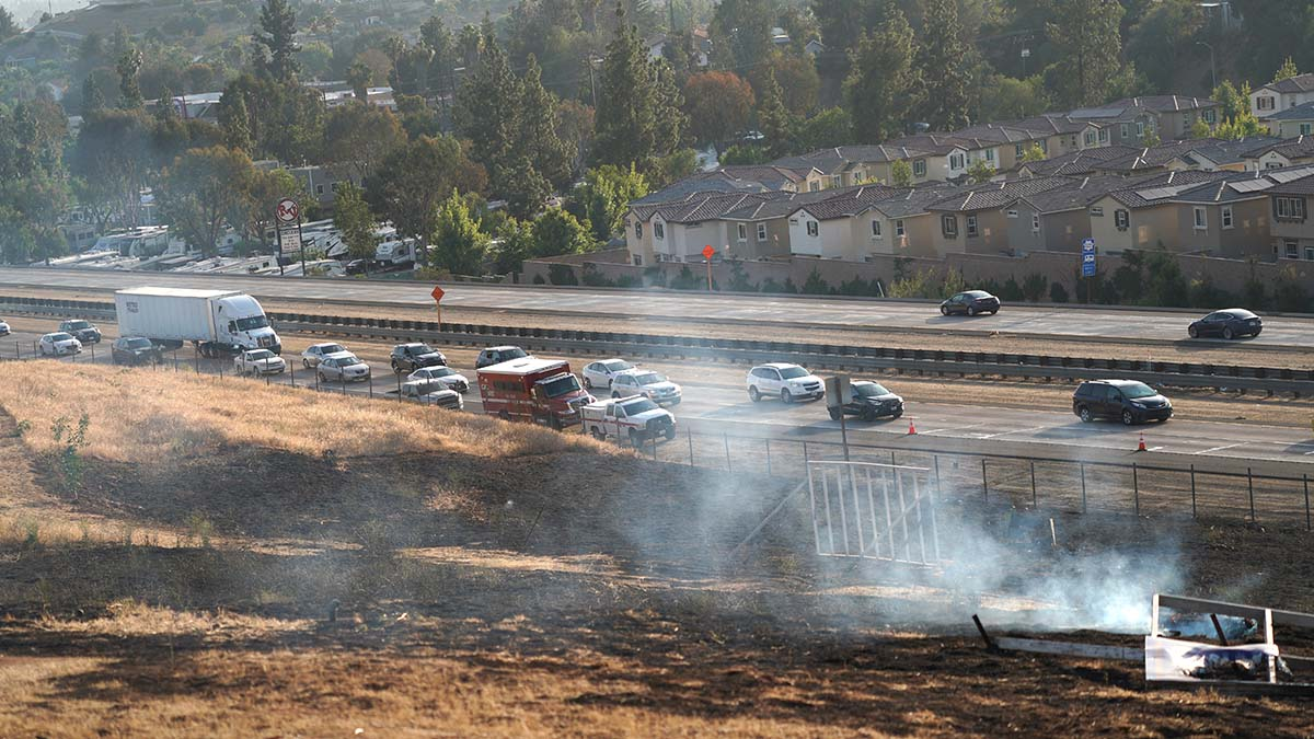 Traffic was backed up at least five miles on eastbound Interstate 8 amid the fire