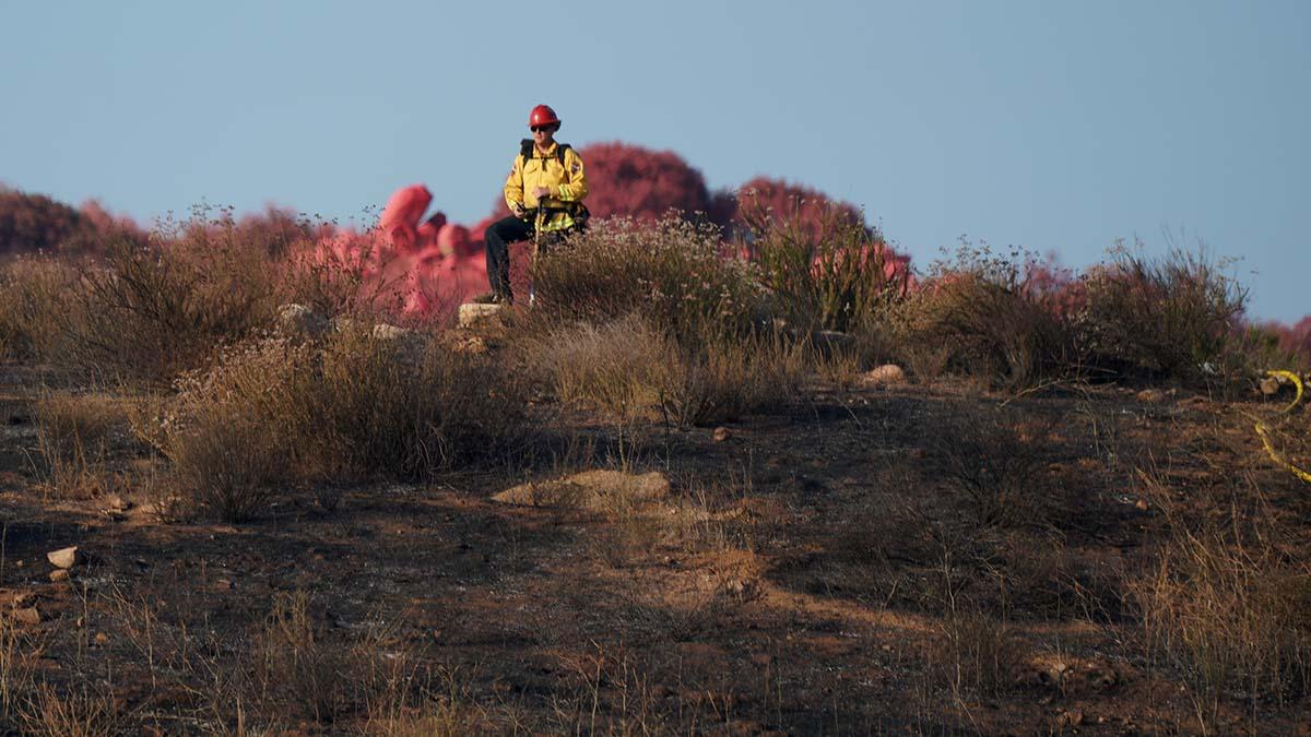 Fire retardant was dropped on field near David Burton's home in Granite Hills