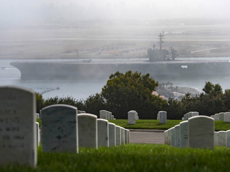 USS Roosevelt passes Rosecrans National Cemetery