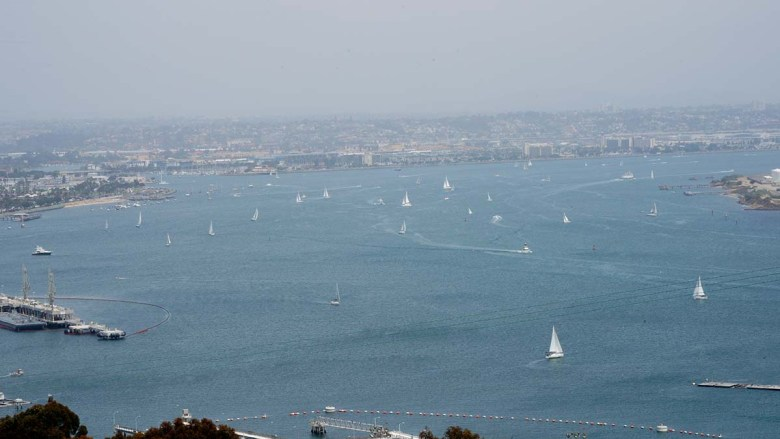 Sailboats dot San Diego Bay on a spring day. Photo by Chris Stone