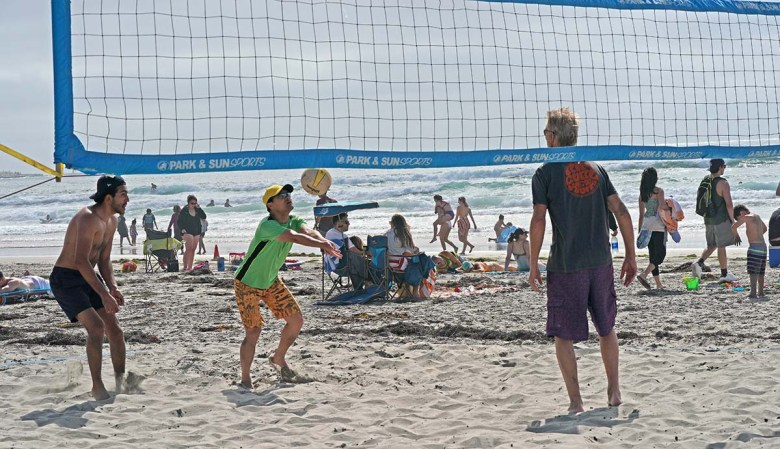 Volleyball nets were in use on a busy Saturday at La Jolla Shores. Photo by Chris Stone
