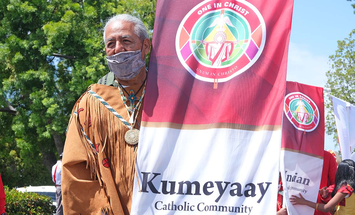 The Kumeyaay Nation was represented in a procession of cultures at the beginning of Mass. Photo by Chris Stone