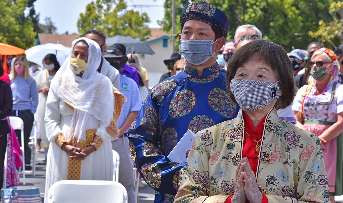 Catholics representing 20 cultures attended the outdoor Mass celebrating Pentecost. Photo by Chris Stone