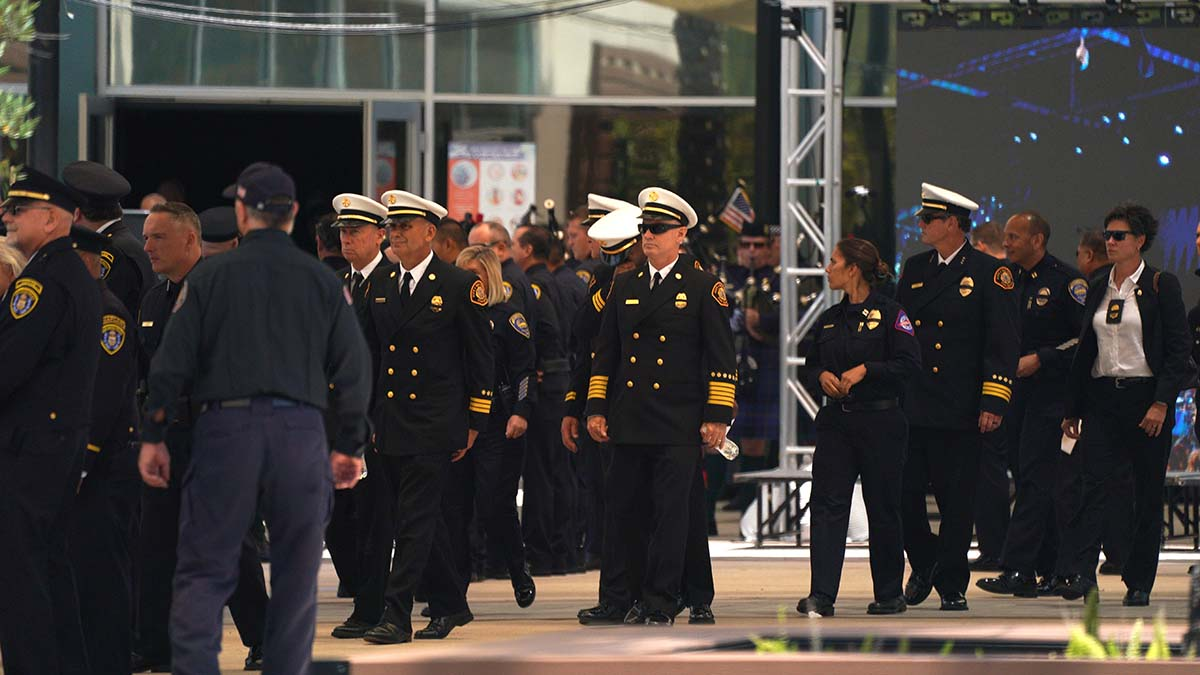 Fire chiefs were among the police and fire personnel who attended the funeral. Photo by Chris Stone