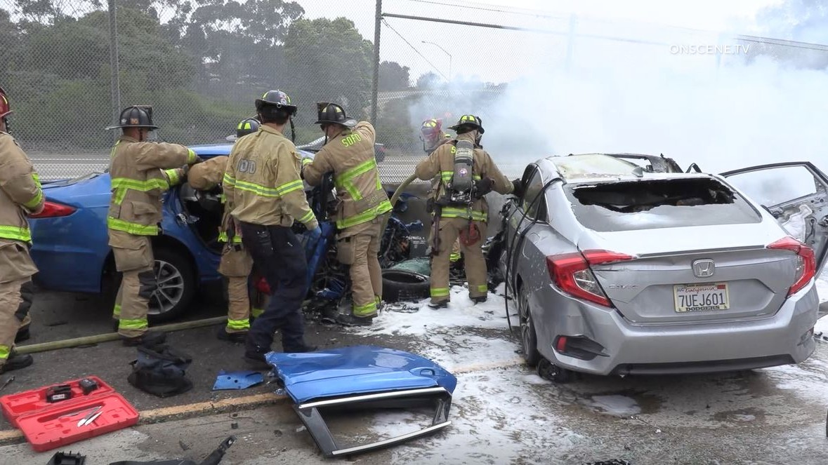 Firefighters at scene of crash