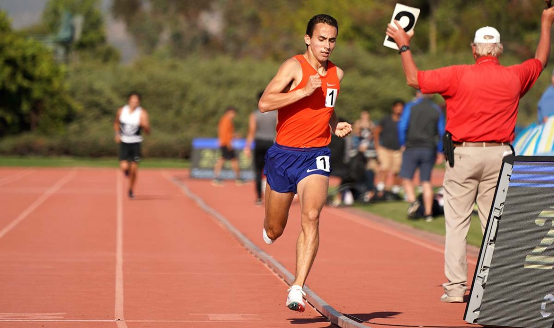 With two laps to go, Joel Gomez has a sizable lead on 1500 field.