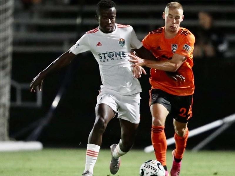 Loyal midfielder Tumi Moshobane (left) scored to get a draw against the Orange County SC. Photo courtesy of the San Diego Loyal.