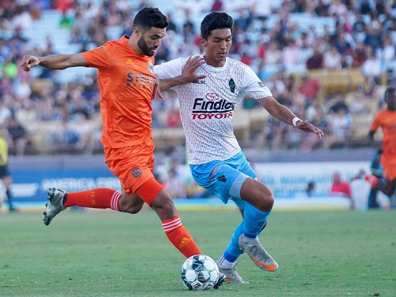 San Diego Loyal SC forward Miguel Berry kicks the clutch goal in a 2-1 win over La Vegas Lights FC. Photo courtesy San Diego Loyal.