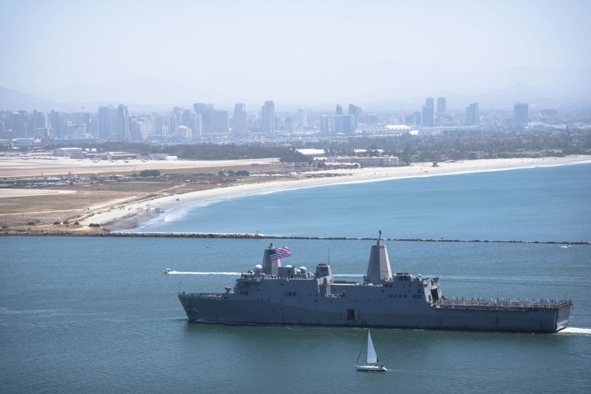 USS San Diego enters San Diego Bay