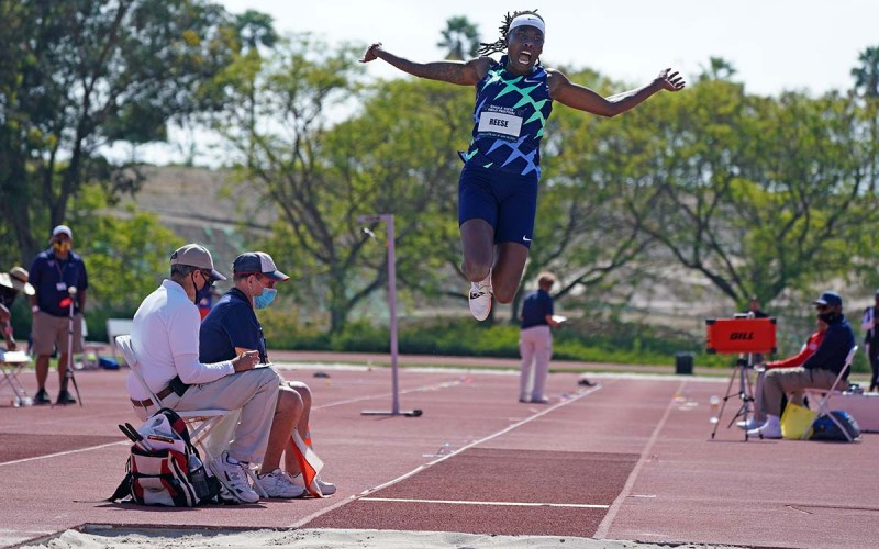 Brittney Reese used a 123-foot run-up to her jumps at the Chula Vista Field Festival