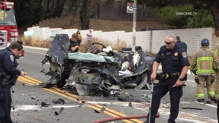 Wreckage of Nissan Altima in Spring Valley
