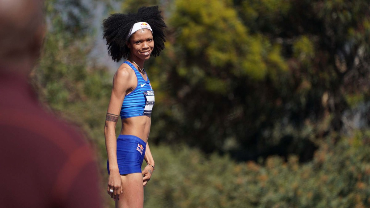 High jumper Vashti Cunningham smiles at the father/coach after setting a personal record. Photo by Chris Stone