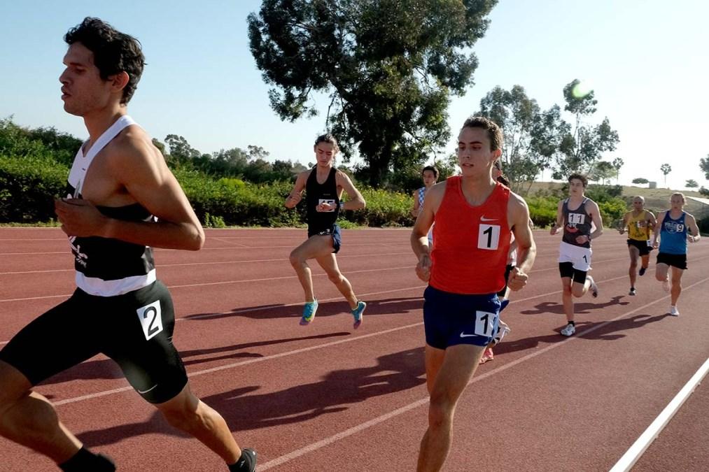 Bernardo Montoya, 26, leads Joel Gomez after 50 meters in 1500.