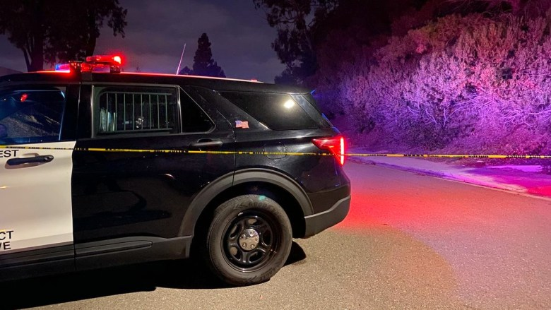 Police cruiser at crime scene