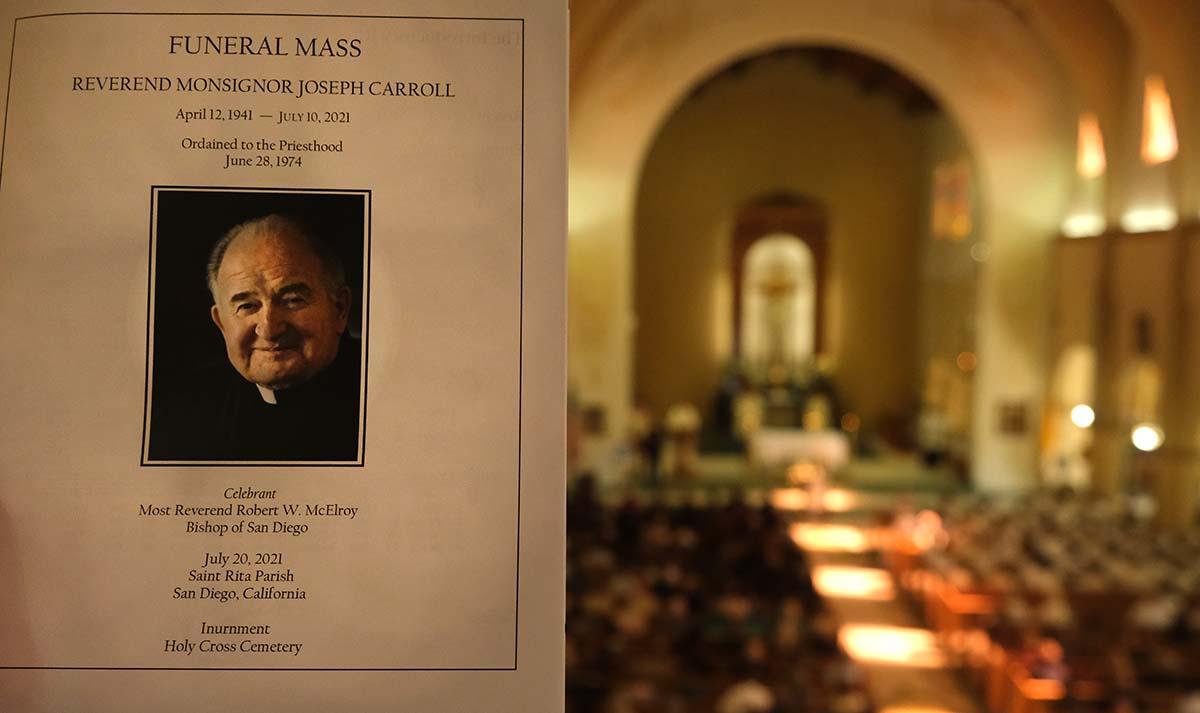 Hundreds attended the funeral Mass of Fr. Joe Carroll at St. Rita's Church.