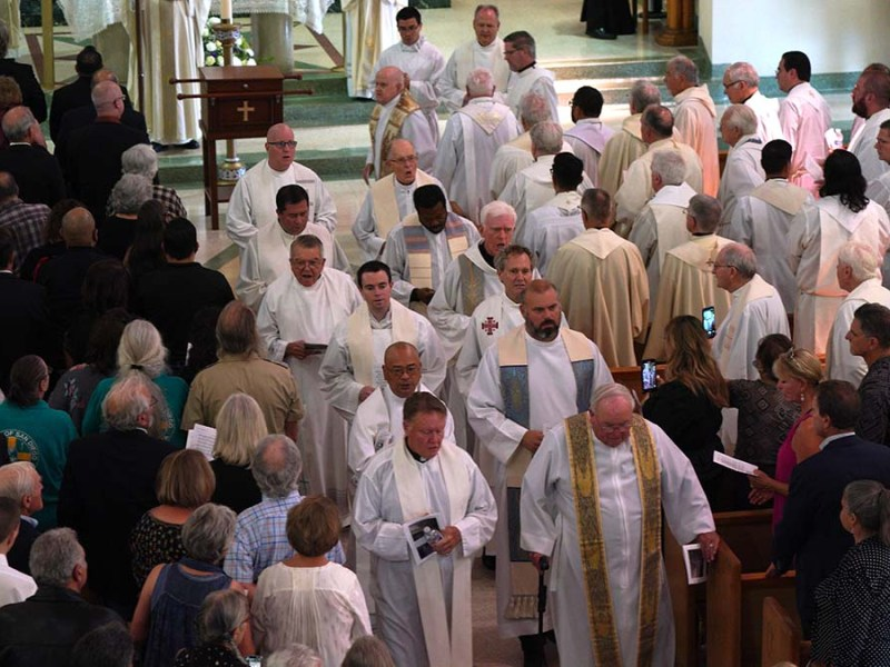 Fr. Joe Carroll is honored at a funeral Mass in the Lincoln Park area of San Diego.