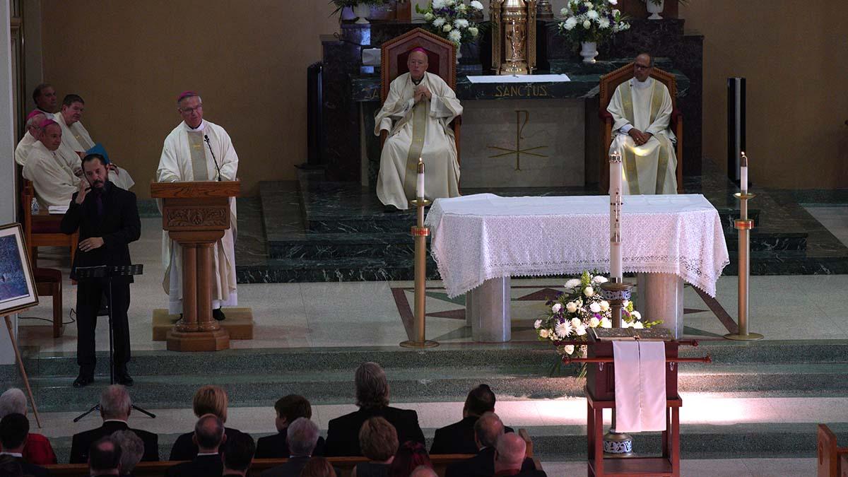 San Diego Auxiliary Bishop John Dolan gives the eulogy for Fr. Joe Carroll.