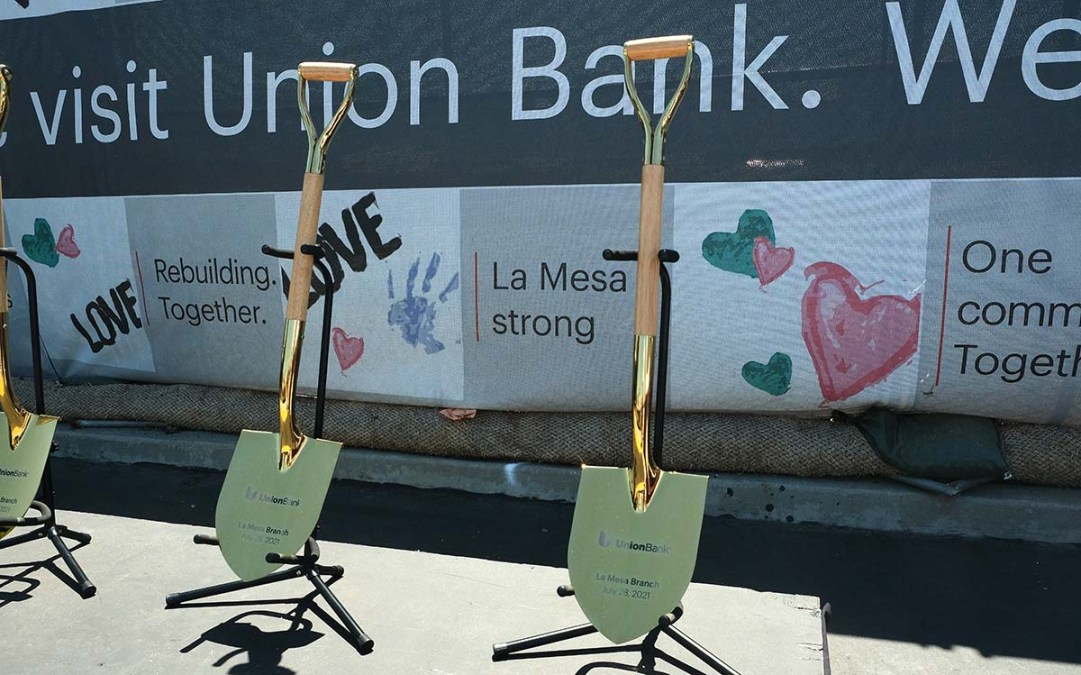 Gold colored shovels are prepared for the groundbreaking of the new Union Bank in La Mesa. Photo by Chris Stone