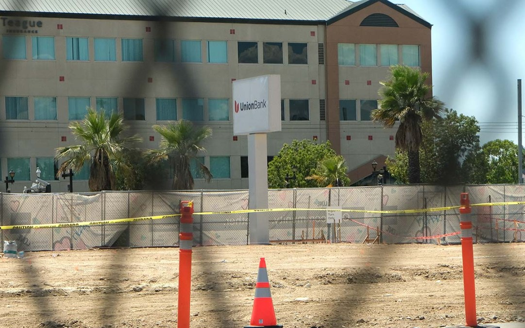 A new Union Bank will be built in La Mesa on the site of the burned down branch. Photo by Chris Stone