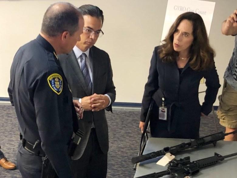Rob Bonta views confiscated guns