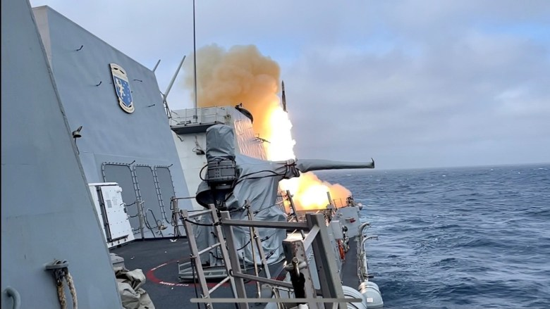 USS Spruance launches missile
