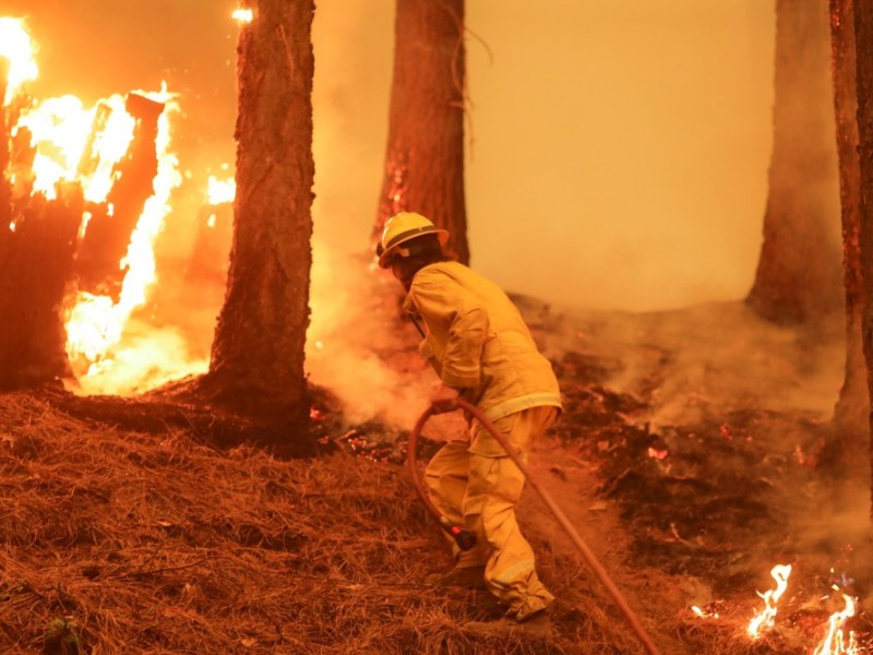 Firefighter on the line in Taylorsville