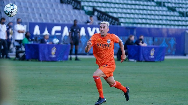 SD Loyal forward Corey Hertzog scored the first goal of the 2-0 match against LA Galaxy II. Photo courtesy of LA Galaxy