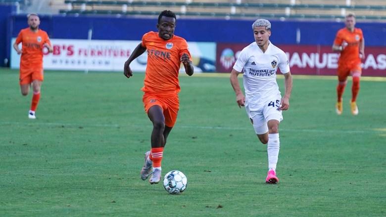 SD Loyal midfielder Tumi Moshobane scored the second goal in the 2-0 win over LA Galaxy II. Photo courtesy of SD Loyal.