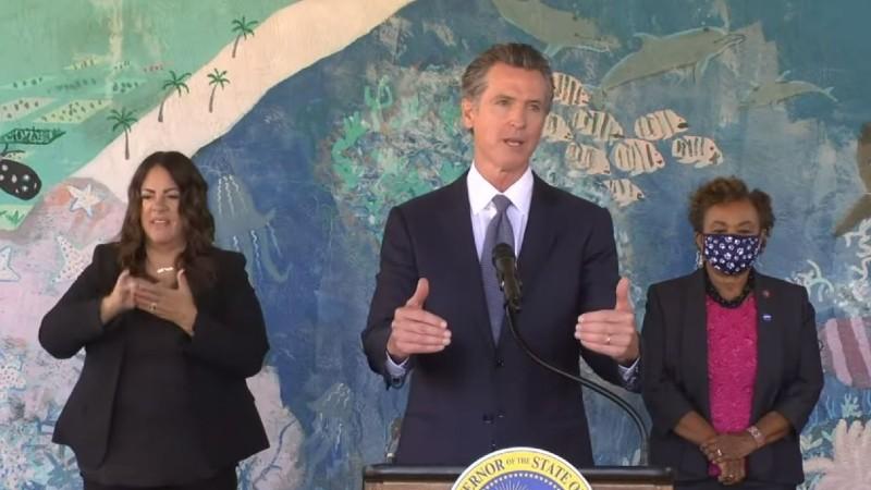 Gov. Gavin Newsom speaks in Oakland
