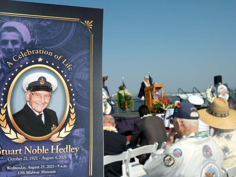 A Celebration of Life ceremony honored Pearl Harbor Survivor Stuart Hedley aboard the USS Midway.