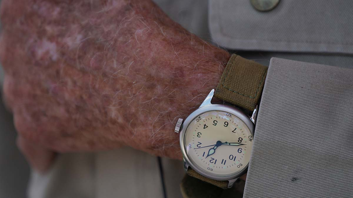 Tom Rice wears a watch made for him in France after he lost his on D-Day. Photo by Chris Stone