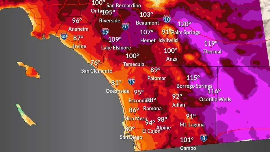High temperatures map