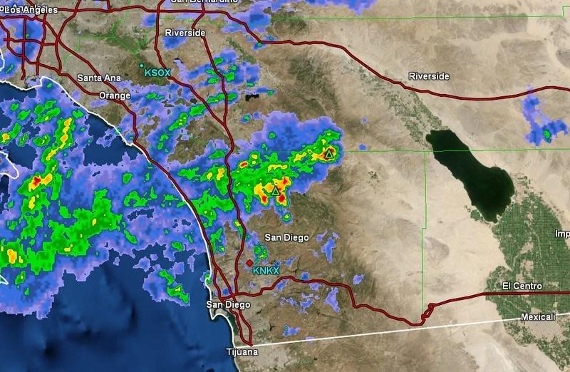Radar map of showers