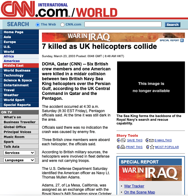 How CNN's website reported the death of Lt. Thomas Adams.