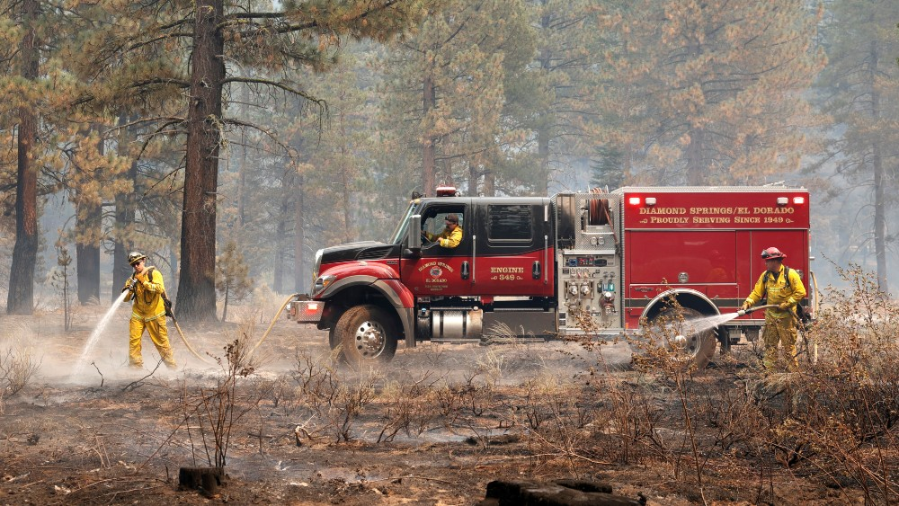Firefighters cool hot spots