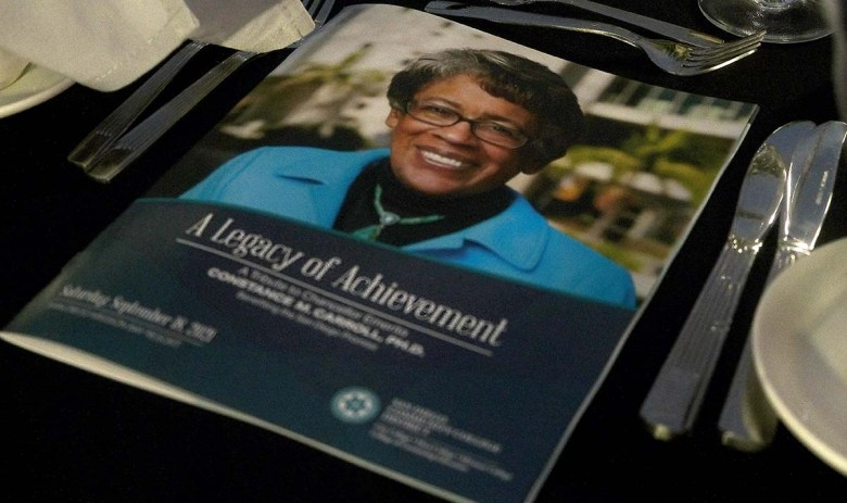 Nearly 500 people honored former SDCCD Chancellor Constance Carroll. Photo by Chris Stone