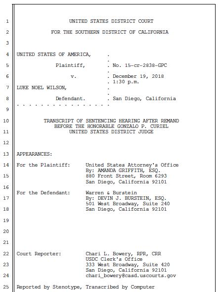 Transcript of 2018 sentencing hearing before federal Judge Gonzalo Curiel