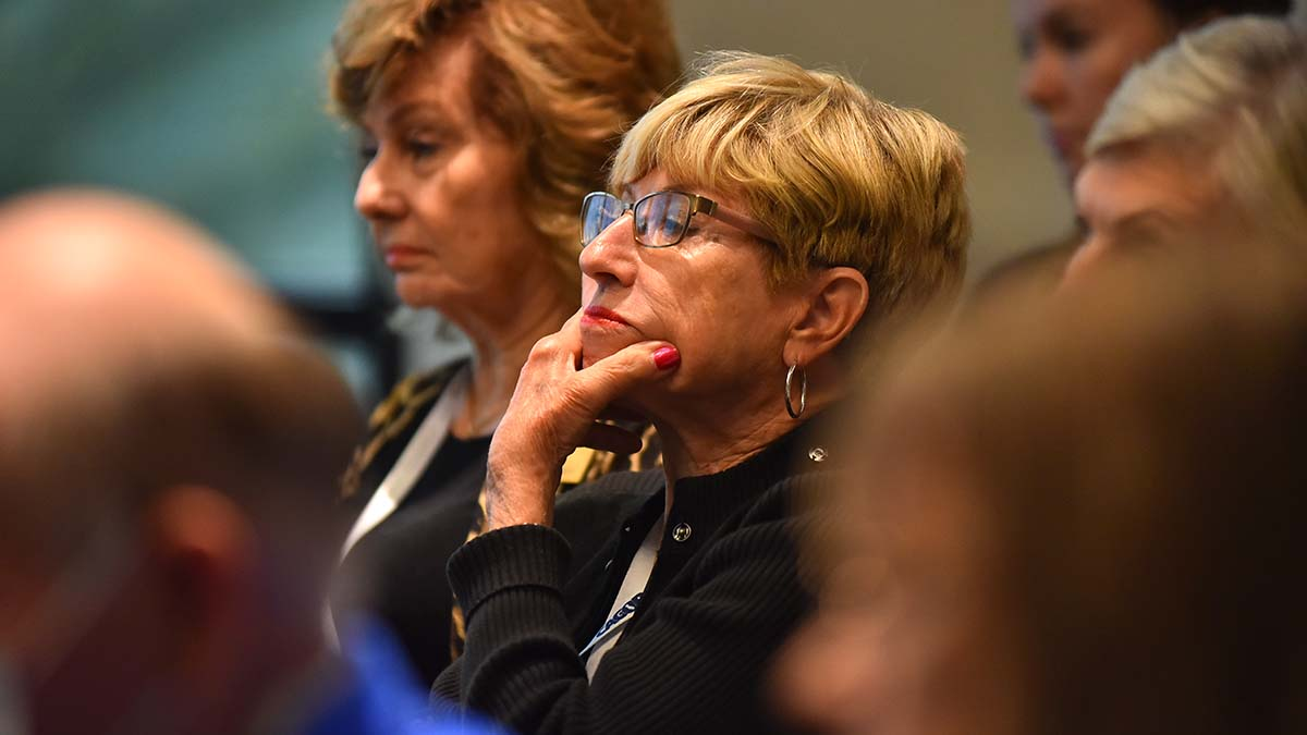 """Audience members at session titled """"Jim Crow 2.0 or Common Sense."""""""