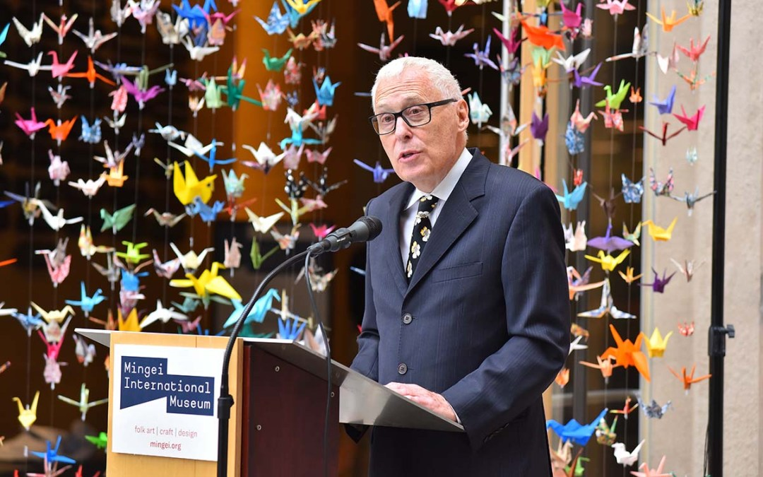 Rob Sidner, executive director of the Mingei International Museum officially reopens the museum. Photo by Chris Stone
