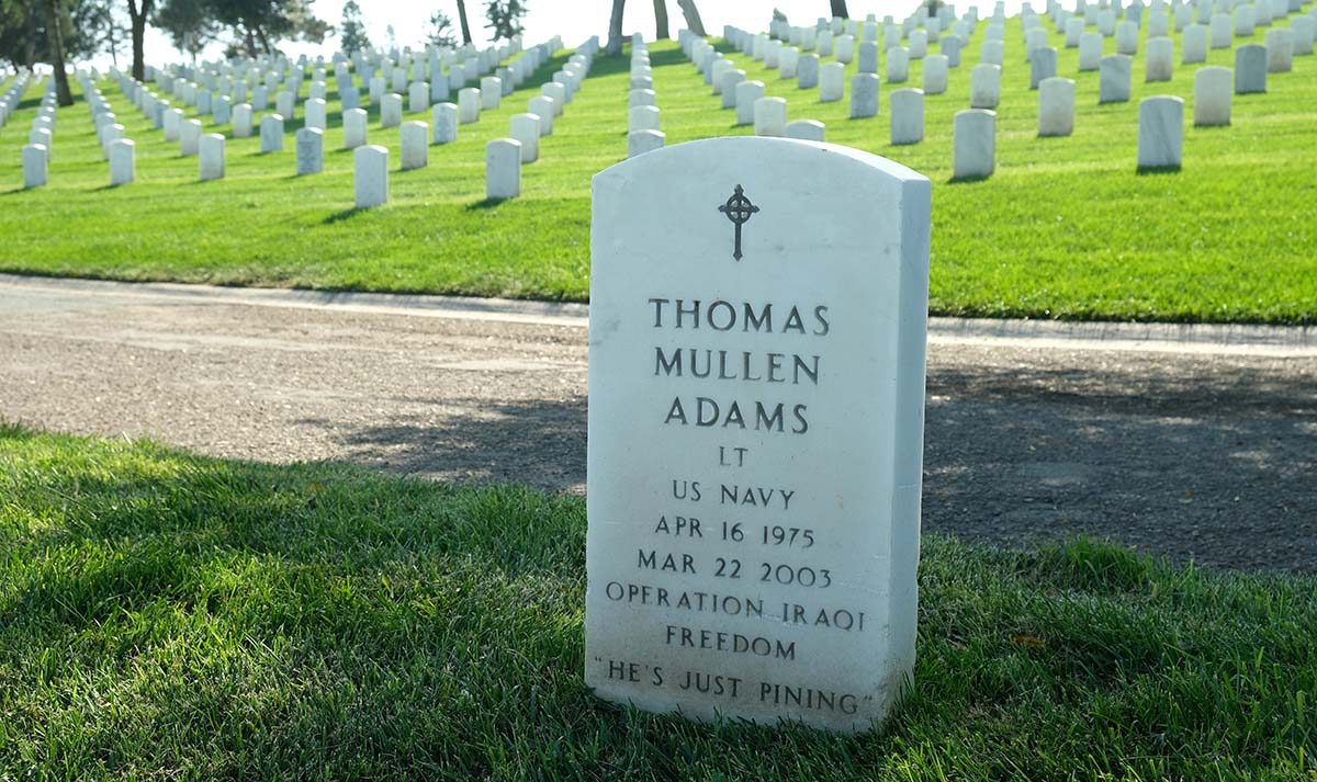 Thomas Adams headstone faces San Diego Bay at Fort Rosecrans National Cemetery. Photo by Chris Stone
