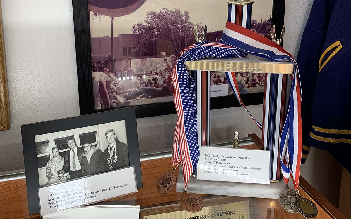 Photos of Tom Adams and some of his awards are part of a memorial to Grossmont High School students who fell in war.