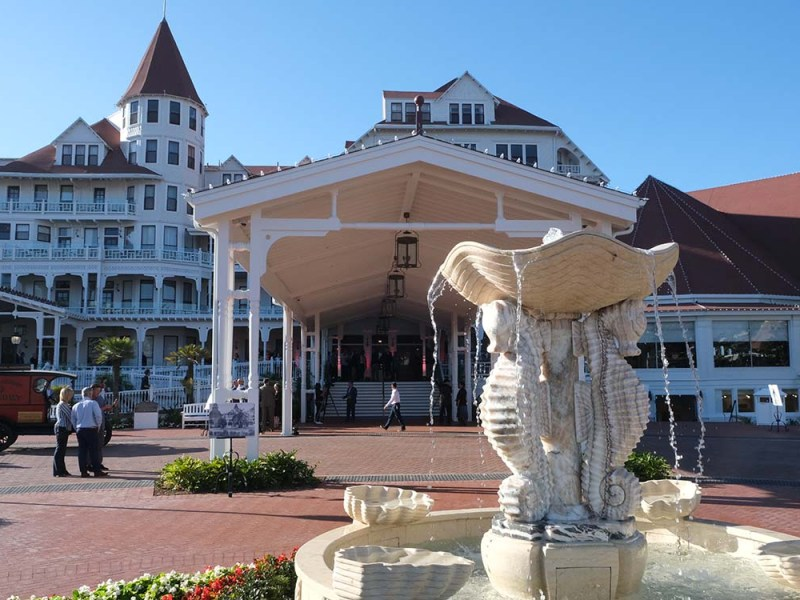 The new Hotel Del Coronado entry way opens on Oct 21. Photo by Chris Stone