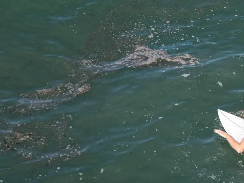 Oil slicks off Huntington Beach