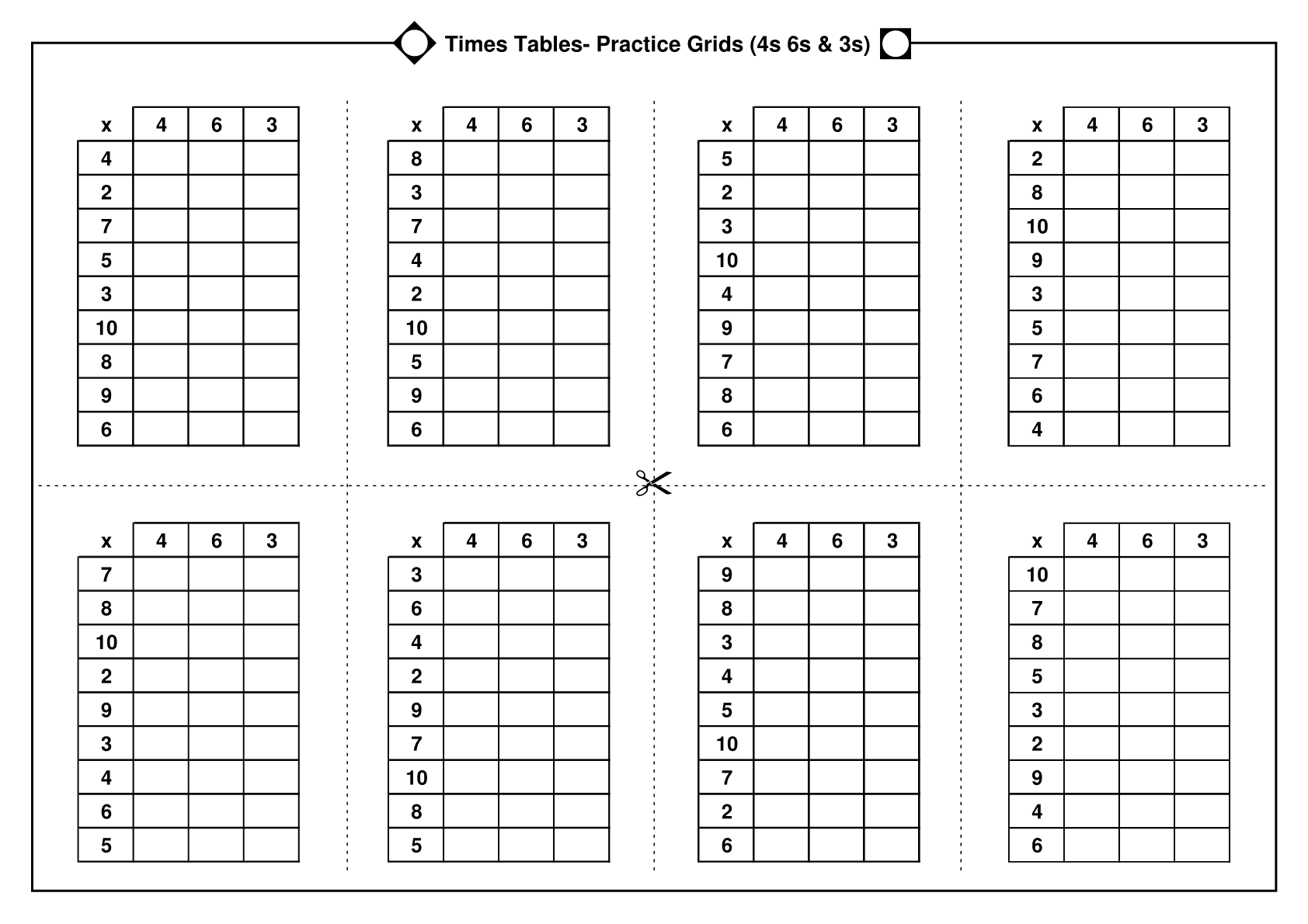 Times Tables Practice Grids