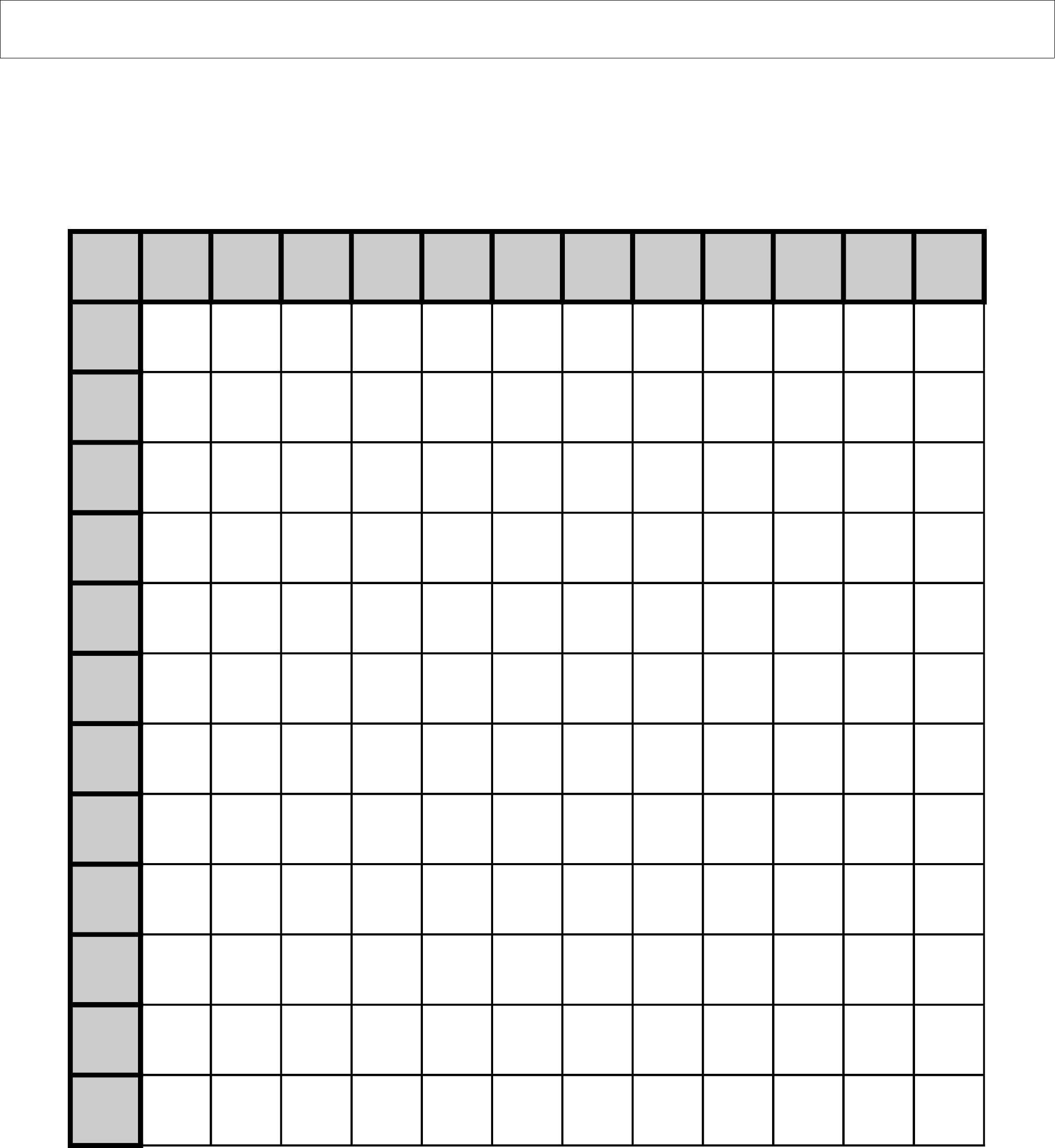 Multiplication Blank Table Printable
