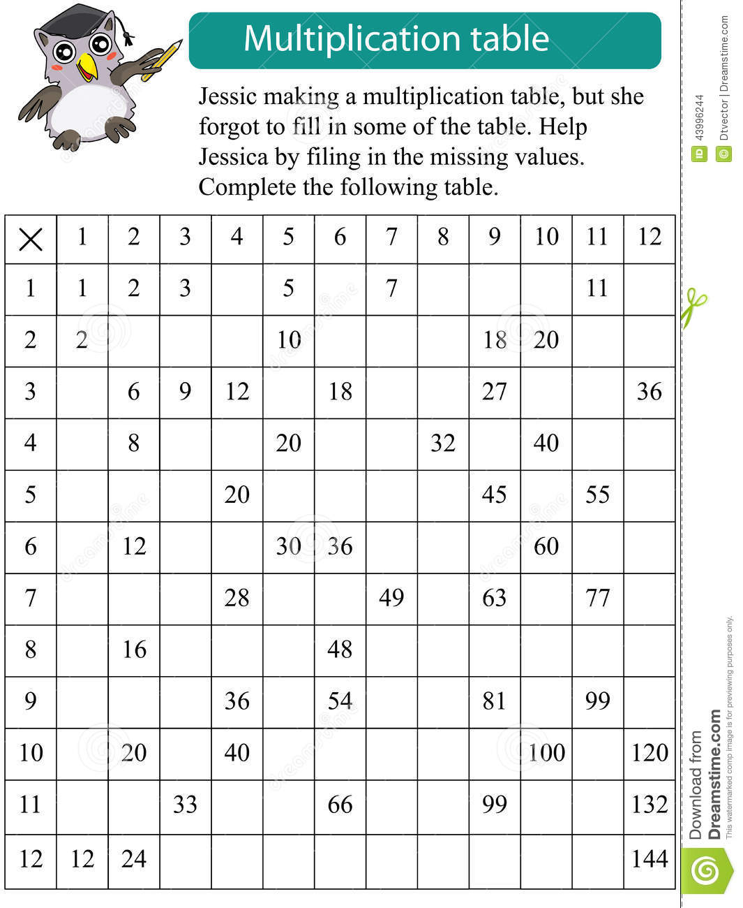 Fill In Multiplication Table