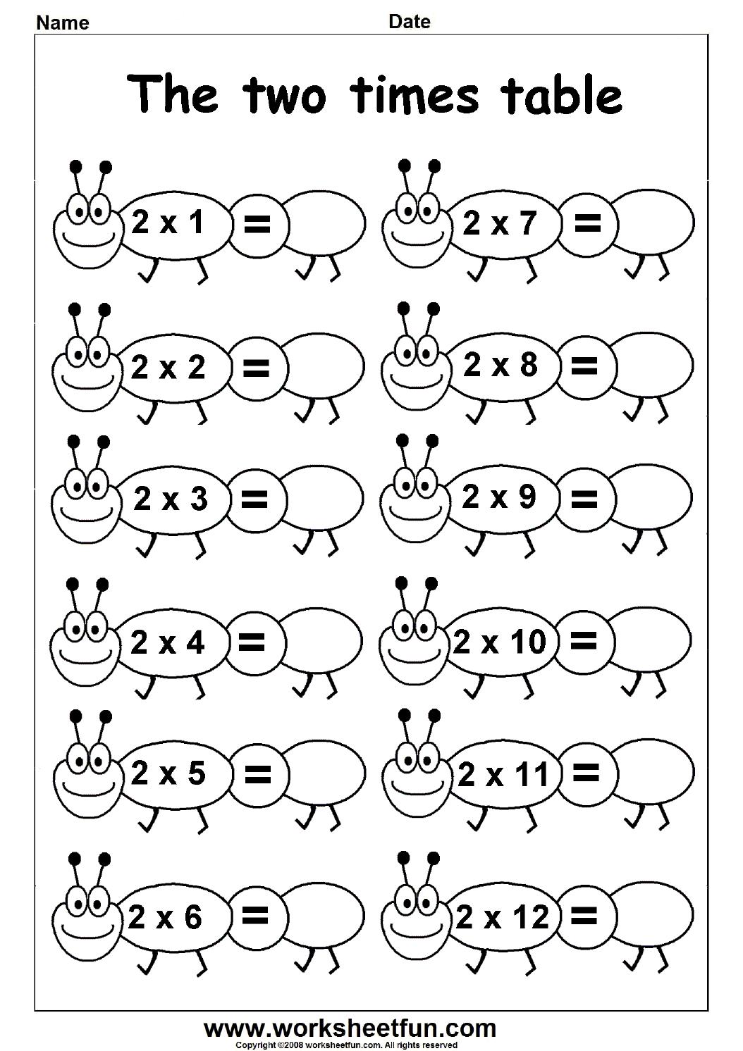 Printable 2 Times Table Worksheet